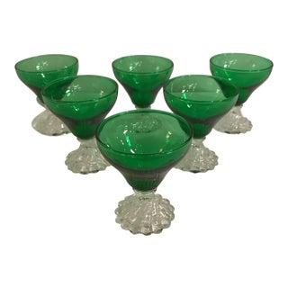 Vintage Short Stemware Green Glasses - Set of 6