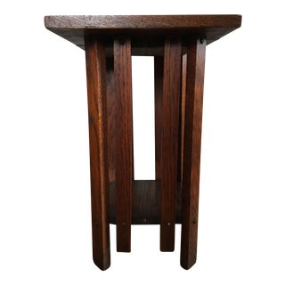 Antique Arts & Crafts Mission Oak Plant Stand / Side Table