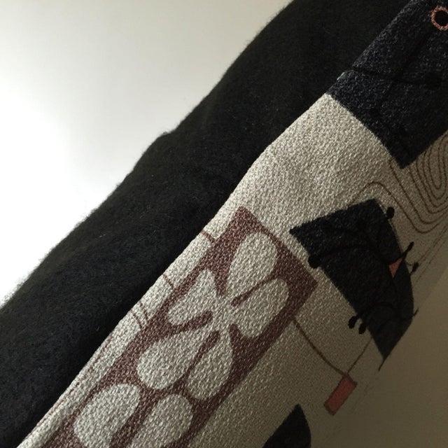 Mid-Century Modern Atomic Barkcloth Pillow - Image 3 of 4