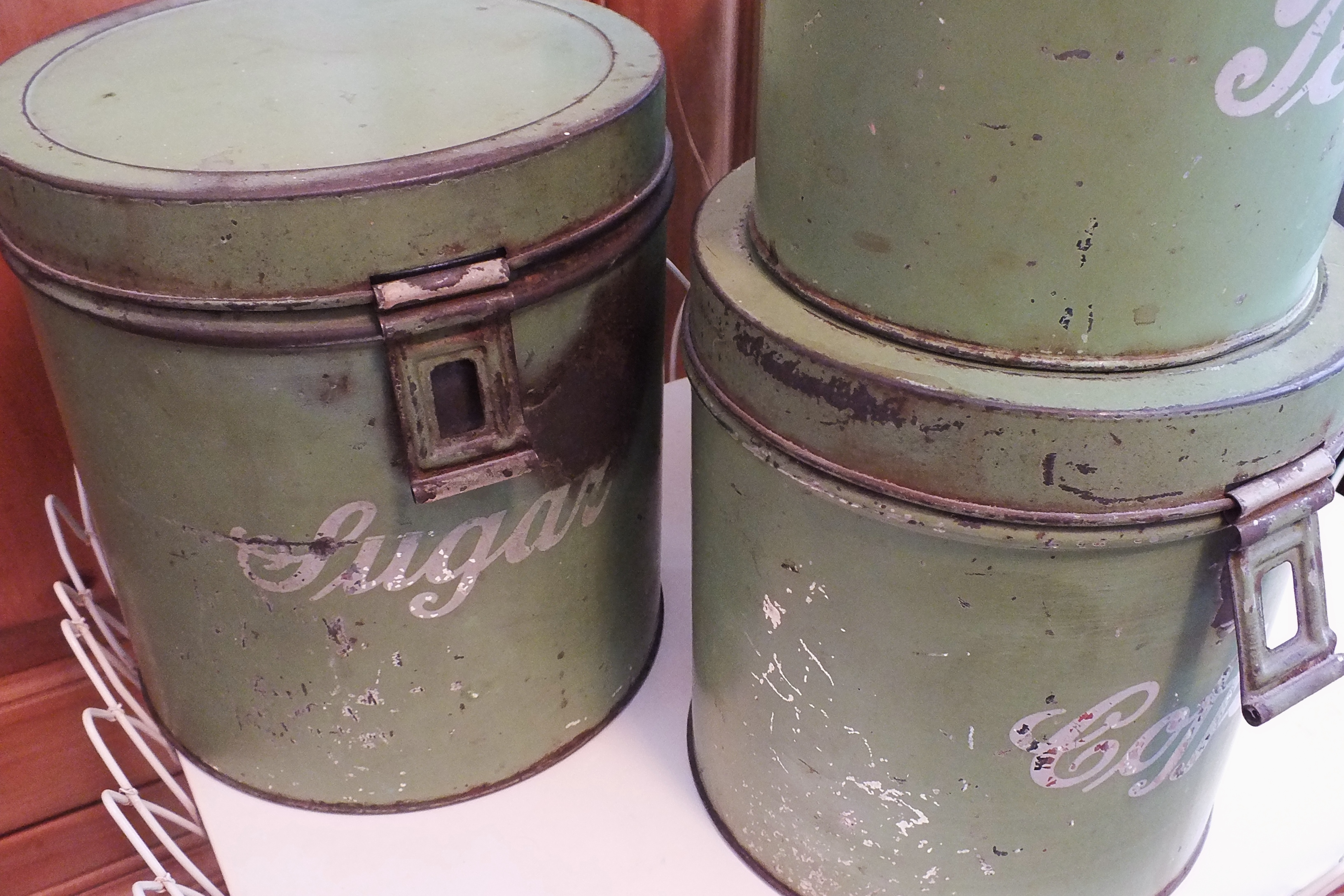 vintage painted metal kitchen canister set chairish