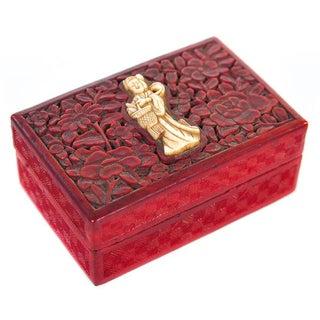 "Chinese Antique 4"" Carved Cinnabar Box W/Quan Yin"