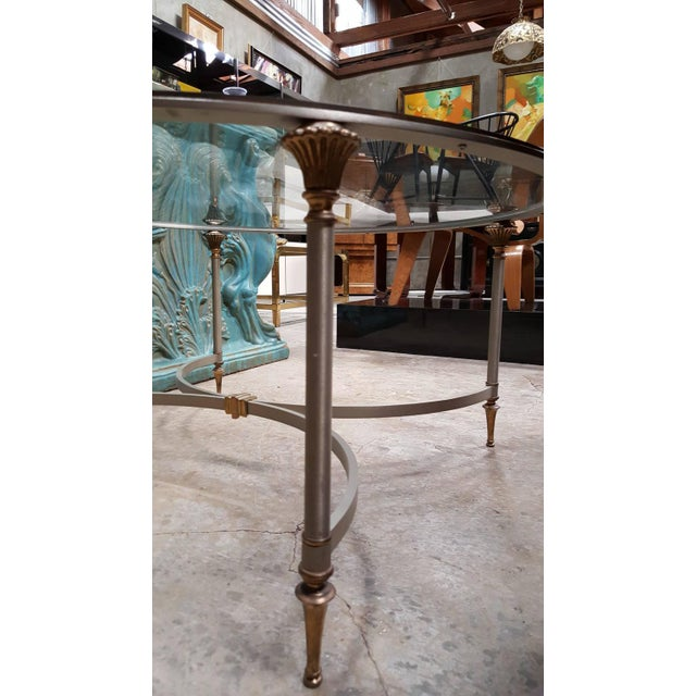 Steel And Brass Round Glass Top Coffee Table