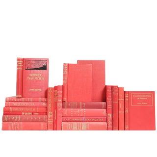 Mid-Century Ruby & Gilt Bound Books- Set of 20
