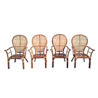 Vintage High Back Rattan Chairs - Set of 4