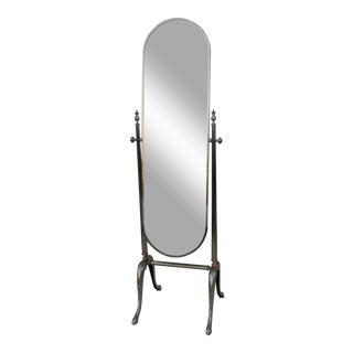 Vintage French Cheval Brass Standing Mirror