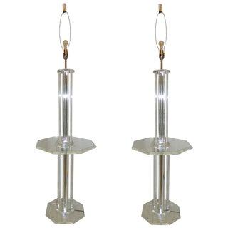 Lucite Floor Lamps - A Pair