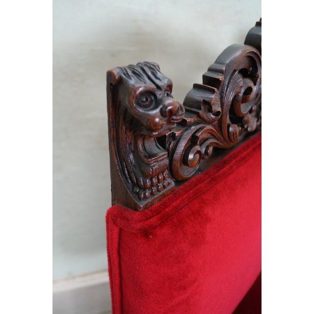 Antique Lion Head Solid Oak Renaissance Arm Chair - Image 10 of 10