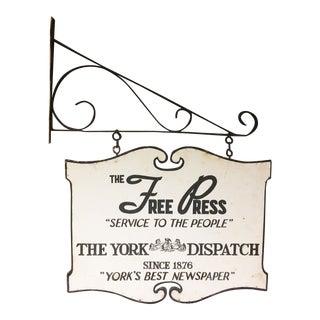Vintage York Dispatch Newspaper Wood Sign with Original Iron Bracket