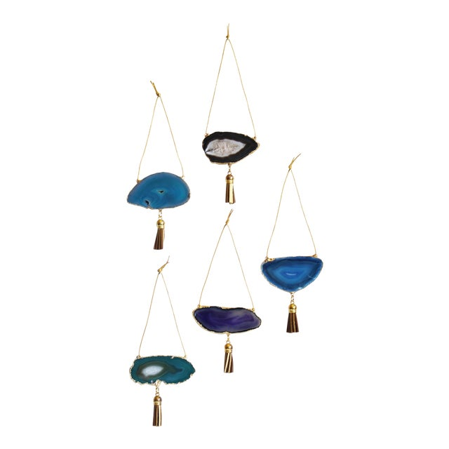 Set of 5 Gold Plated Assorted Agate Ornaments - Image 1 of 9