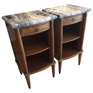 Walnut and Marble Nightstands - Pair