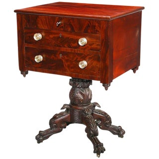 Classical Carved Mahogany Empire Worktable with Hairy Paw Feet