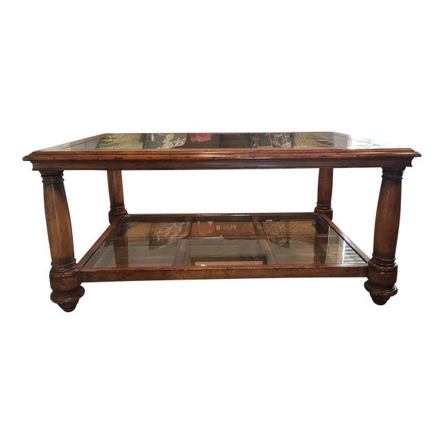 Wood Glass Two Tier Coffee Table Chairish