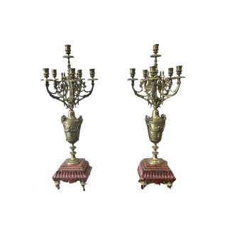 19th C. French Antique Gilt & Marble Candelabras - A Pair