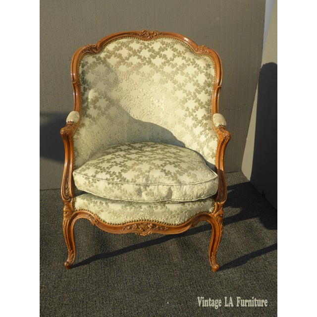 Antique Carved French Louis Xv Style Barrel Back Bergere