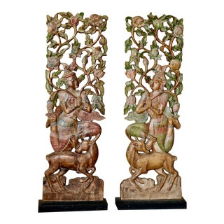 Indonesian Hand Carved Wood Panels - A Pair