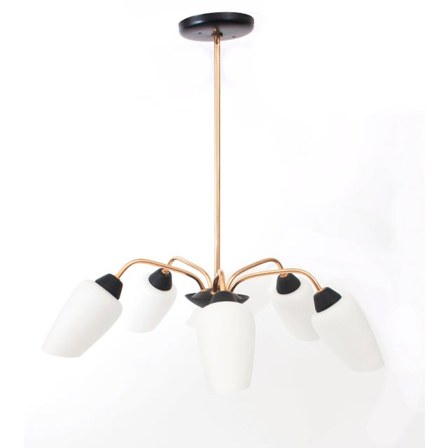 1950s French Glass & Brass Chandelier - Image 2 of 6