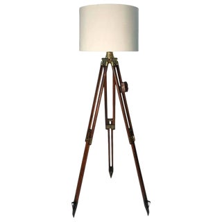 1940s Vintage Swiss Surveyor Tripod Floor Lamp