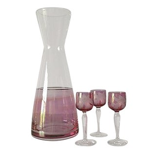 Czechoslovakian Wine Carafe & Cordials - Set of 4