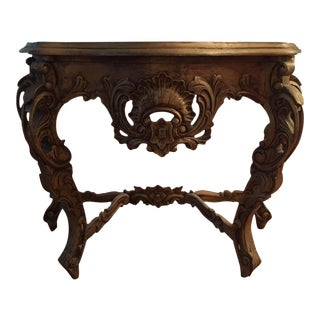 Cabriolet Leg Gilt Wood Console Table