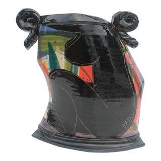 Art Handmade Female Torso Painted Vase By Listed Artist Bird