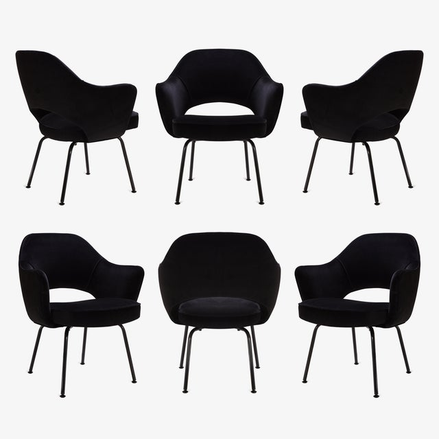 Saarinen Executive Arm Chairs, Black Edition - Set of 6 - Image 8 of 8