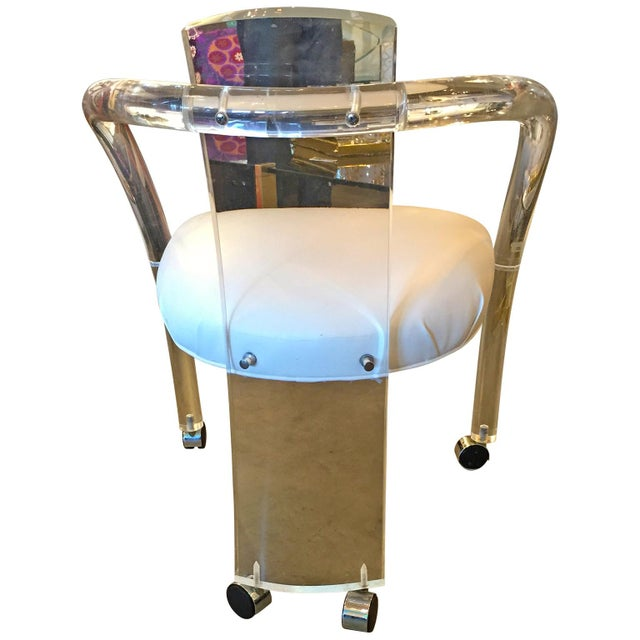 Set of Four Charles Hollis Jones Lucite and White Leatherette Armchairs - Image 4 of 7