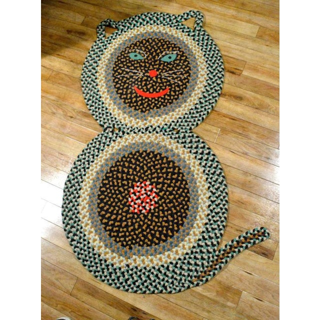 American Folk Art Braided Rug in the Form of a Cat - Image 2 of 3
