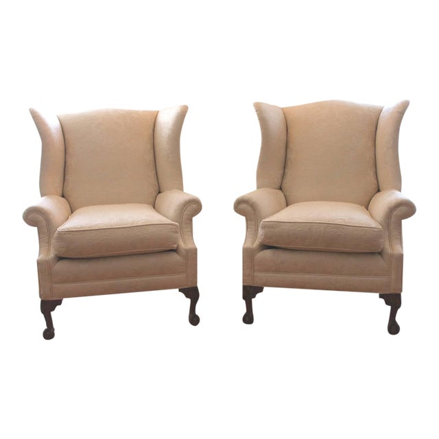 Pair of Monumental Damask Wing Chairs - Image 1 of 6