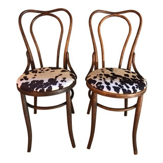 Antique Thonet Style Bentwood Cowhide Chairs - A Pair