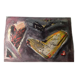 Mid-Century Modernist Abstract Original Heart Painting on Board