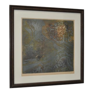 """Vintage """"Canyon"""" Abstract Etching with Aquatint"""
