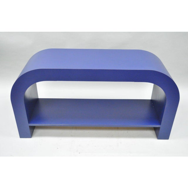 Mid Century Post Modern Blue Laminate Curved Waterfall Console - Image 3 of 11