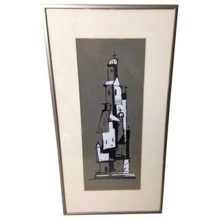 Monochromatic Tower Gouache Painting