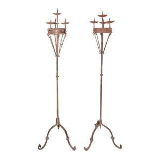 Early 19th Century Spanish Forged Iron Candleholders - a Pair