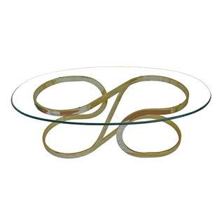 Milo Baughman Sculptural Brass Coffee Low Table