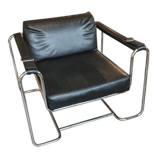 Tubular Chrome Leatherette Strap Buckle Chair by Selig