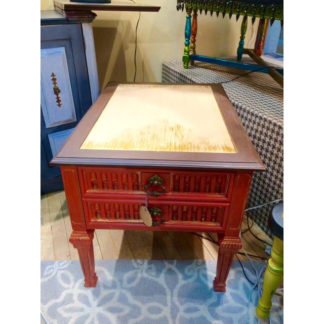 Vintage Coral Accent Table - Image 2 of 9