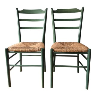 Green Shaker-Style Chairs - A Pair
