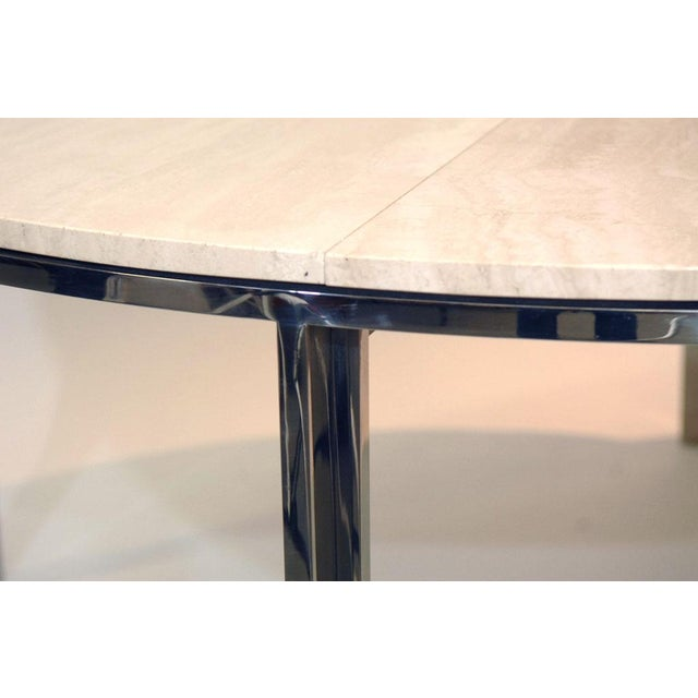 Image of Pace Polished Stainless and Travertine Dining Table
