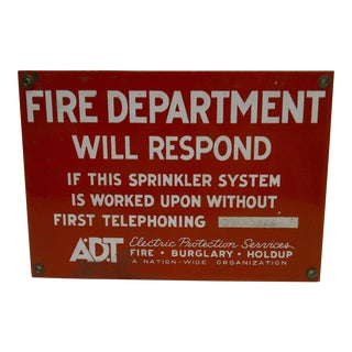 Vintage Fire Department Will Respond Porcelain Sign Adt Electric Protection Services