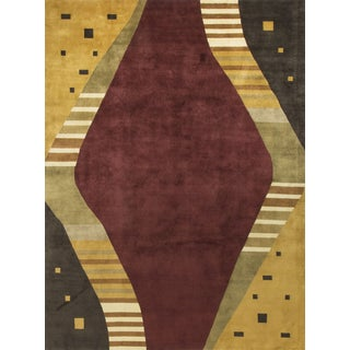 Contemporary Red & Yellow Wool Rug - 9' x 11'8""