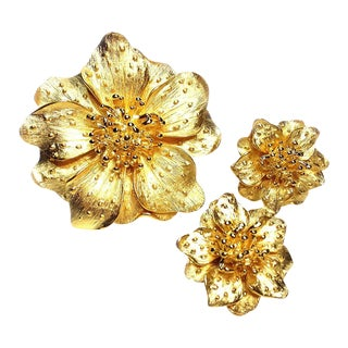 KJL Goldtone Floral Brooch & Earrings Set