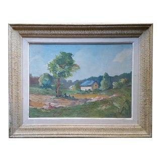 Vintage Irish Cottage Scene Oil Painting by J. Reyas