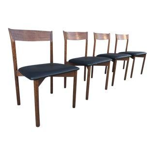 (4 ) Danish Modern Teak Sculptural Dining Chairs