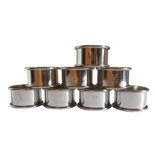 "Pewter Engraved ""M"" Napkin Rings - Set of 8"