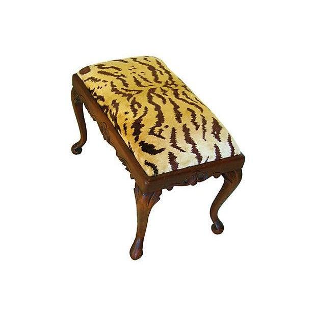 Vintage Scalamandre Le Tigre Silk Velvet Bench - Image 6 of 8