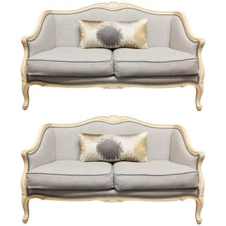 Louis XV Style Painted Walnut Settees - Pair