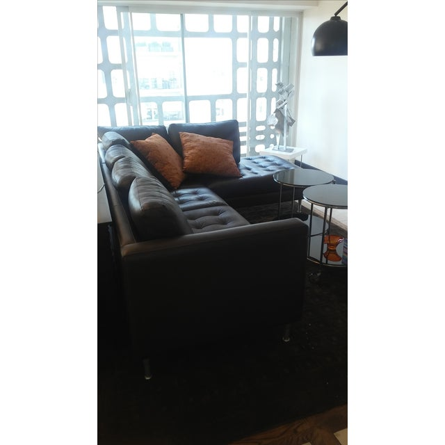 Tufted Dark Brown Leather Sectional - Image 3 of 6