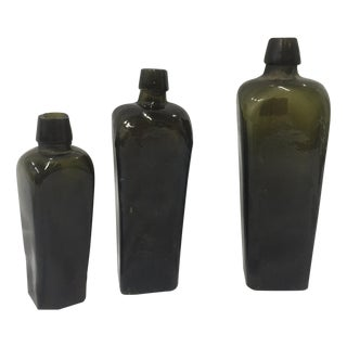Vintage Dutch Gin Bottles - Set of 3