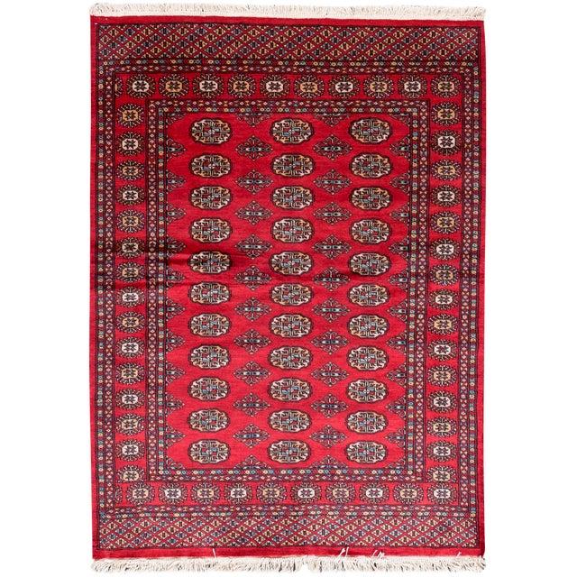 "Bokara Red Wool Rug- 4'2"" x 5'7"" - Image 1 of 3"